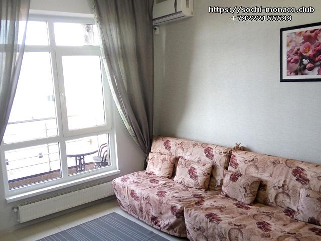 2 дивана-кровати, квартира 35м2, Аренда квартиры Сочи, Сочи-Монако-Клуб, ул. Просвещения, 148