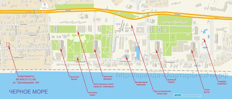 Схема Курортного городка в Адлере